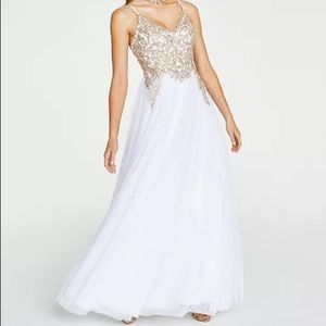 Say Yes to the Prom White and Gold Dress